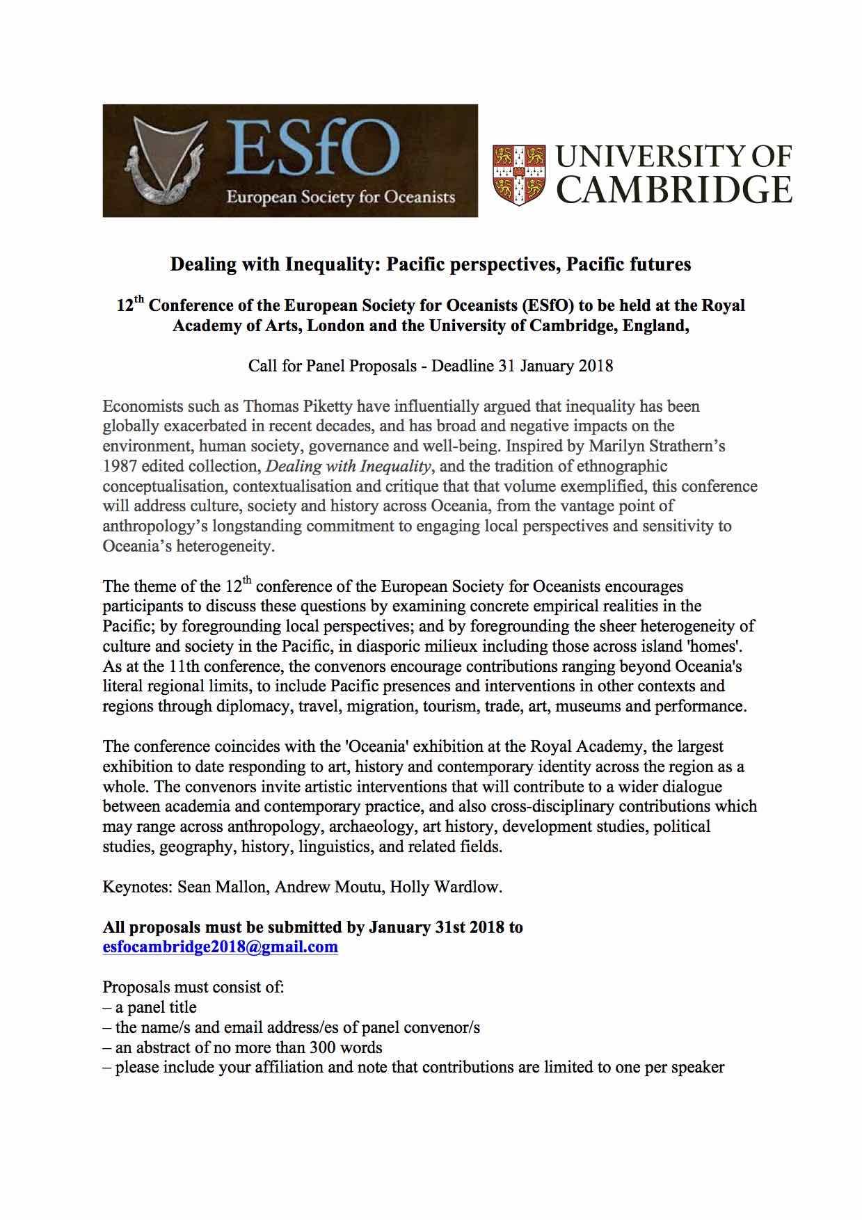 12th ESfO Conference in Cambridge, UK | Oceanic Art Society